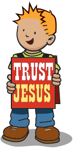 boy with board saying trust Jesus